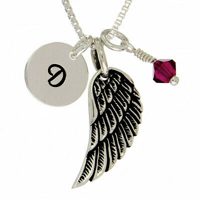 Wing Customizable Letter Birthstone Pendant Sterling Silver Necklace Chain  • 30.38£