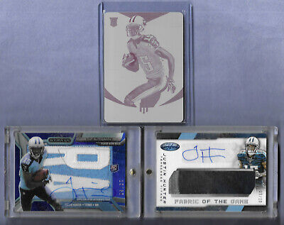 $31 • Buy Justin Hunter 3 Card Lot Rookie Printing Plate 1/1 & Auto Jersey 9/10 & 12/50