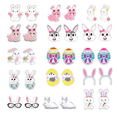 AU13.99 • Buy 925 Sterling Silver Easter Bunny Rabbit Ears Crystal Glitter Kids Stud Earrings