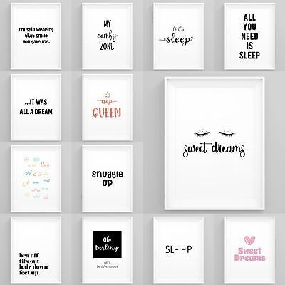 £17.99 • Buy Bedroom Wall Art Quotes Framed Bedroom Prints Modern Pictures Home Décor