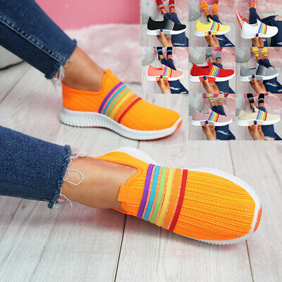 £12.99 • Buy Womens Ladies Slip On Rainbow Sneakers Knit Trainers Heel Women Party Shoes Size