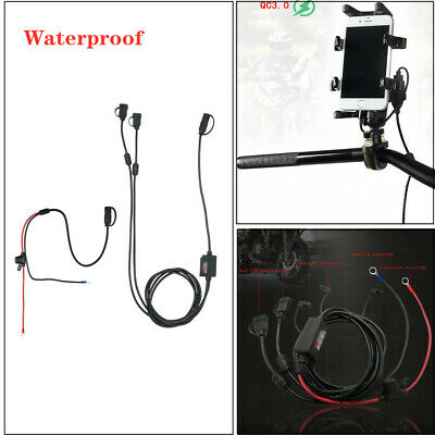$19.59 • Buy Dual USB Waterproof Charger Motorcycle Mobile/Cell Phone Charging Cable Parts