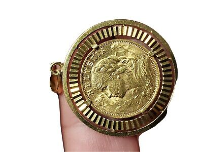 $1395 • Buy Swiss Gold Coin 20 Francs Helvetia AU *1947 With 18k Gold Bezel