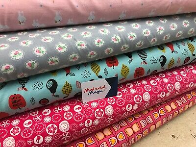 Printed Soft Cotton Blend Jersey Fabric Stretch,knit  Rabbits, Roses ,hearts • 8£