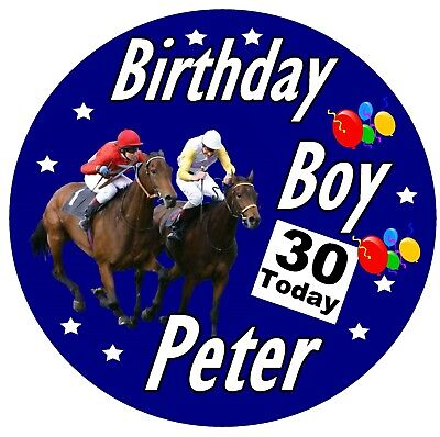 £2.89 • Buy Horse Racing Fun Personalised Birthday Badge, Any Name / Age / New / Gifts