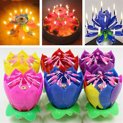 $ CDN3.60 • Buy Rotating Musical Lotus Flower Happy Birthday Candle Romantic Lights Gift Party