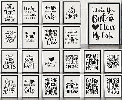 Funny Cat Quote Prints For Wall & Home Decor  - Fun Pet Typography Posters • 3.99£
