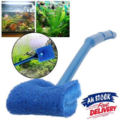 AU9.99 • Buy 2 Head Aquarium Algae Cleaner Cleaning Brush Easy Fish Tank Glass Plant