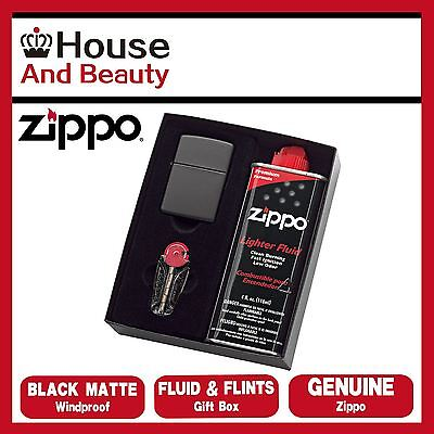 AU51.99 • Buy NEW Zippo 218 Black Matte Lighter With 118ml Fluids & Flints Gift Boxed Genuine
