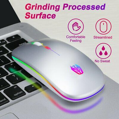 AU16.86 • Buy Wireless Rechargeable Mouse Slim Portable USB Mouse With Breathing RGB LED Light