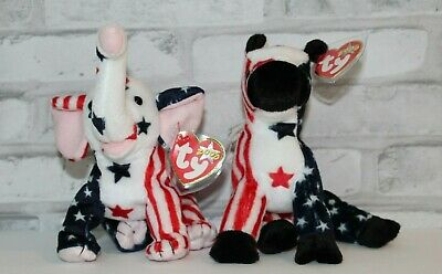 $2499.99 • Buy Retired Ty Beanie Baby  Lefty  Donkey  Righty  Elephant 2000 ELECTION America