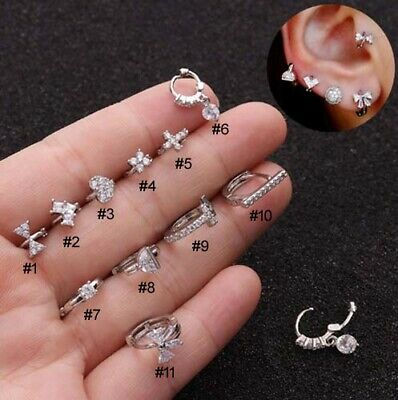 AU5.89 • Buy 1pc Mini Huggie Hoop Ring Bar Ear Tragus Helix Piercing Post Earring Gift