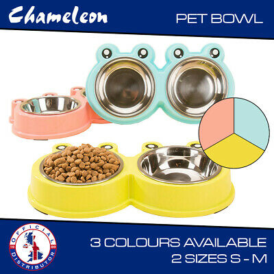 Dog Puppy Stainless Double Bowls Cat Pet Animal Feeding Food Water   • 6.89£