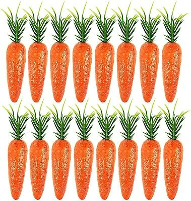 15 X Mini Glitter Carrots 7cm Party Decor Kids Easter Egg Hunt Bonnet Crafts  • 2.89£