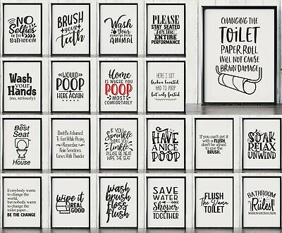 Bathroom Pictures & Posters Toilet Humour Home Decor & Funny Wall Art Quotes  • 3.99£