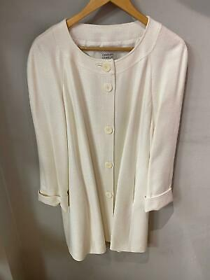 Caroline Charles Ivory Collarless Swing Coat Silk Lining UK Size 16 • 145£
