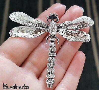 £5.29 • Buy Large Antique Style Silver Dragonfly Brooch Crystal Insect Pin Broach Gift