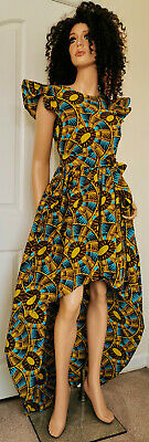 'FRANCES' African Printed High-Low Dress With Belt 100% Wax Cotton Handmade UK • 39.99£