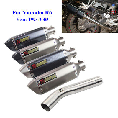 $105.99 • Buy 1998-2005 R6 YZF-R6 Exhaust Pipe For Yamaha Motorcycle Mid Slip On 51mm Muffler