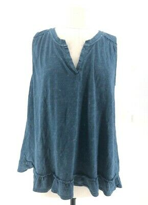 $ CDN35.18 • Buy Maeve Anthropologie Womens Top Green Sleeveless Ruffle Crossover Open Back XL