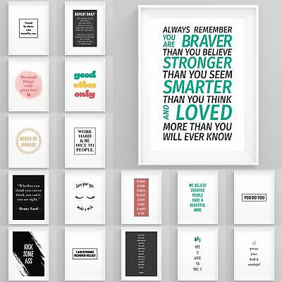 Inspirational Motivational Posters Famous Quotes Framed Prints Wall Art Bedroom • 6.49£