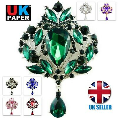 £3.60 • Buy Extra Large Diamante Rhinestone Crystal Brooch Silver Vintage Pin Lot For Women