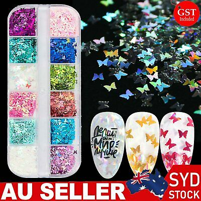 AU7.89 • Buy 12 Grids Butterfly Shape Nail Flakes 3D Holo Laser Glitter Sequin Nail Art Decor