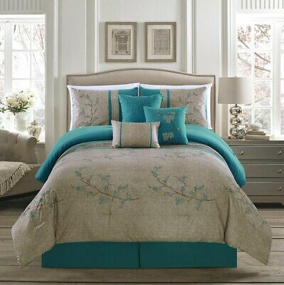 $69.99 • Buy 7-Piece Teal Floral Cherry Blossom Embroidery Pleated Striped Comforter Set