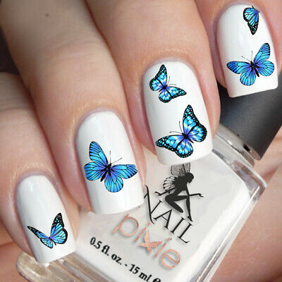AU3.87 • Buy BEWITCHING Blue BUTTERFLY Nail Decal Art Water Slider Sticker Transfer