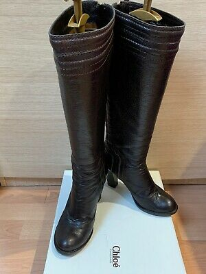 CHLOE LEATHER KNEE-HIGH LADIES BOOTS Size 37 • 99£