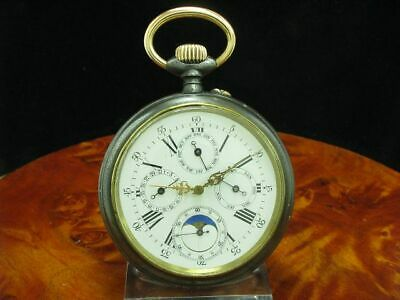 £1202.19 • Buy Large Iron Open Face Pocket Watch Complete Calendar Moon Phase/Diameter 66,1 MM