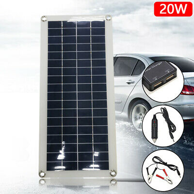 12V 20W Flexible Battery Charger Solar Power Panel Outdoor For Car RV Yacht Boat • 21.99£