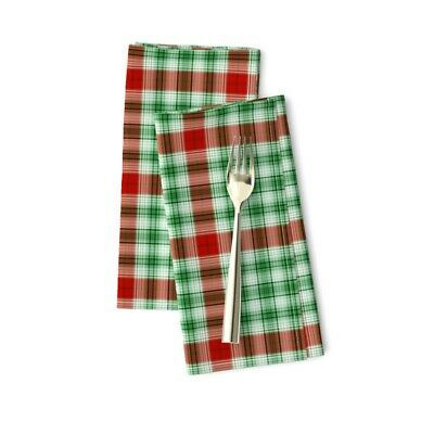 Christmas Stripes Dots Holiday Plaid Cotton Dinner Napkins By Roostery Set Of 2 • 23.47£