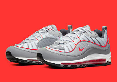 $129.99 • Buy Nike Air Max 98 PARTICLE GREY TRACK RED WHITE BLACK CI3693-001 Men's Running