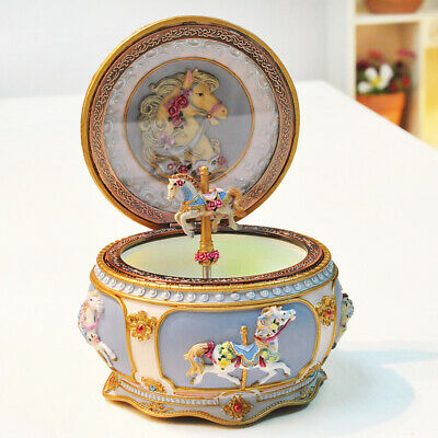 $59.99 • Buy Classical Carousel Horse Music Box LED Lights Twinkling Resin Carved Collectible