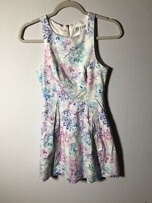 AU22.05 • Buy Forever New Womens Colourful Floral Fit And Flare Dress Size 6 Sleeveless Cotton