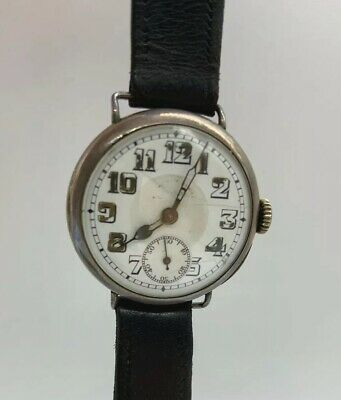 RARE RWC Rolex Trench Style 1920s Antique Silver Watch ORIGINAL CASE NOT WORKING • 499.99£