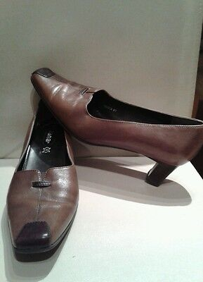 Jana Anti Shock Ladies Brown Leather Shoes Size 4 H Wide Fit • 2£