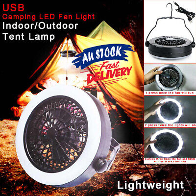 AU25.36 • Buy For Outdoor USB Camping With Hook Rechargeable LED Fan 3 In 1 Portable Tent Lamp