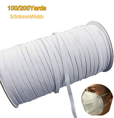 $ CDN25.64 • Buy 100/200 Yards 1/4  1/8  Width Braided Elastic Band For Sewing Crafts Mask Cuff