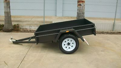 AU1140 • Buy 7x4 Single Axle Armstrong Special Box Trailer -Checkerplate Floor -F/R Tailgates