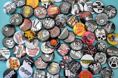 PUNK BADGES PINS Bands Anarchy Pistols Clash Rancid Ramones Dead Kennedys Damned • 0.99£