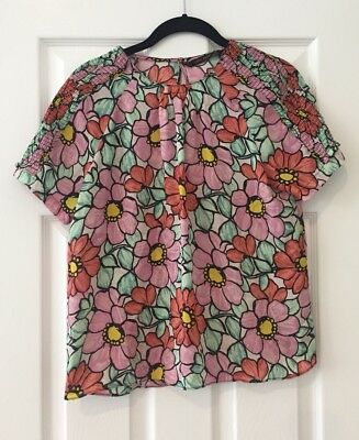 $15 • Buy Zara Girly Pink Purple Floral Keyhole Back Top S Small
