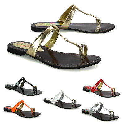 Womens Flat Sandals Diamante Toe Post Slip On Casual Sliders Shoes Size 3-9 • 19.99£
