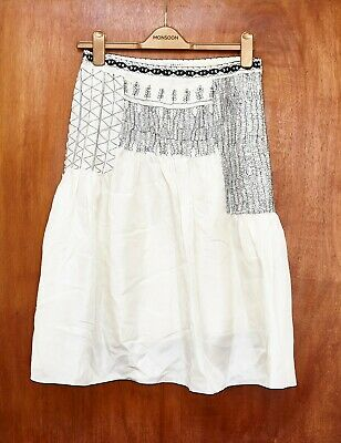 Jesire Silk Embroidered Ethnic Ivory Skirt S 8/10 Bohemian Quirky • 8£