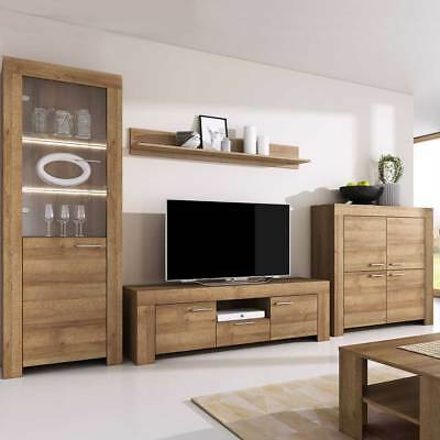 Living Room Furniture Set Tv Hanging Unit Glass Cabinet Cupboard LED Riviera Oak • 178£