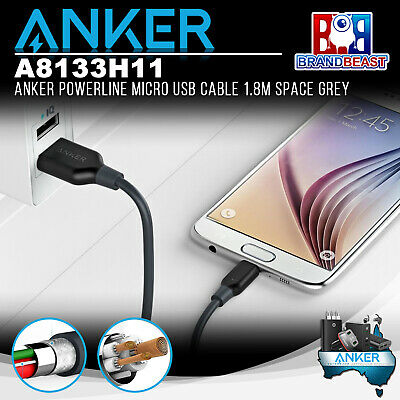 AU19.99 • Buy Anker A8133H11 PowerLine 1.8m Android Smartphones Micro USB Cable - Space Grey