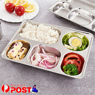 AU24.86 • Buy 304 Stainless Steel Lunchbox Divided Lunch Food Serving Bento Box Tray W/ Cover