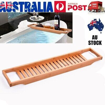 AU23.49 • Buy Wooden Bathroom Bamboo Shelf Caddy Wine Holder Tray Over Bathtub Rack Storage AU