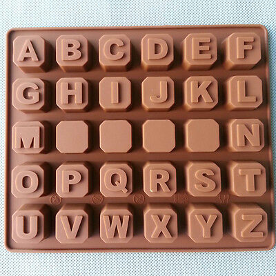 Alphabet Letters A-Z Silicone Cake Cookie Chocolate Soap Mould Ice Cube Tray • 3.66£